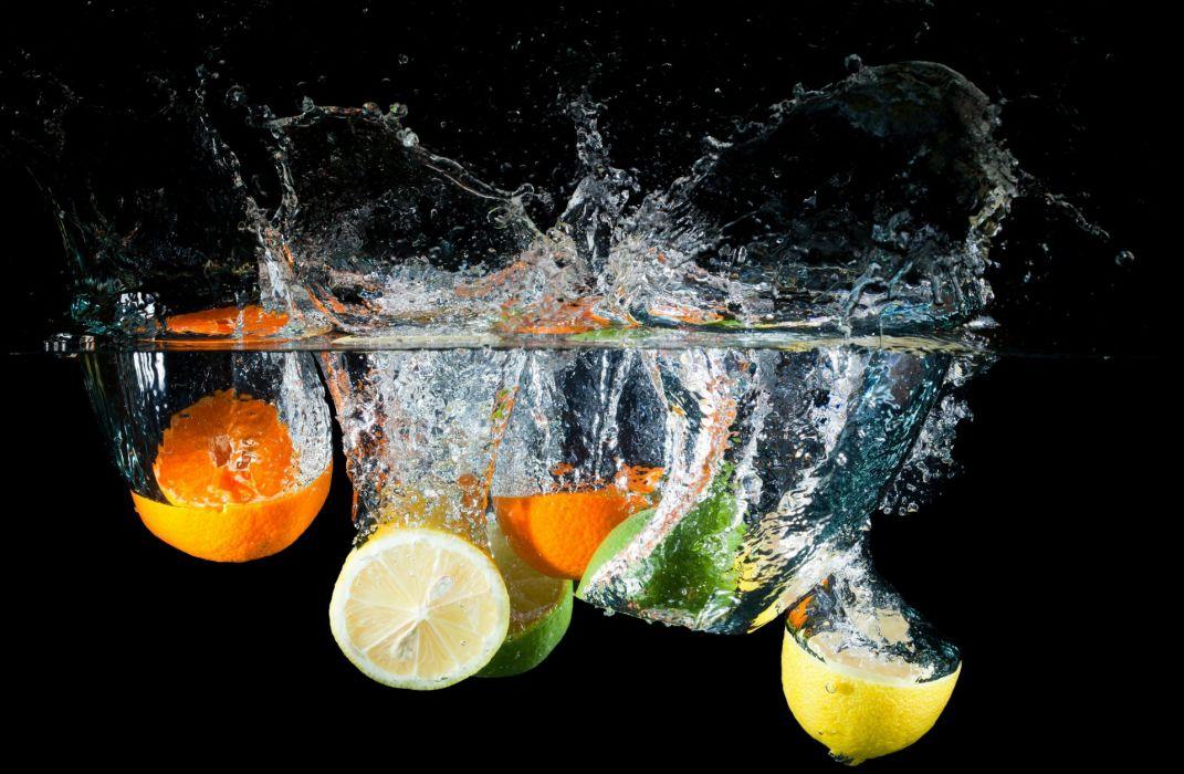 citrus water spray lemon lime orange wallpaper