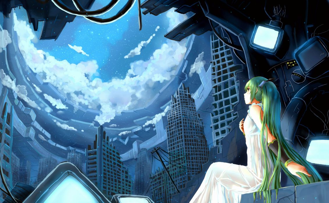 city clouds dress green eyes green hair hatsune miku long hair twintails vocaloid zen (weishanzhe) wallpaper