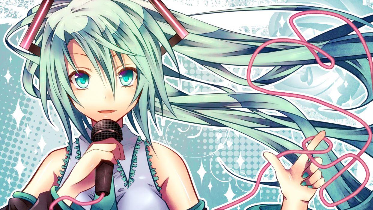 close hatsune miku microphone shiomidu vocaloid wallpaper