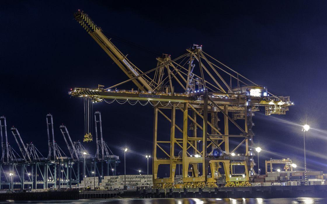 Crane Night port mechanical mech machinery wallpaper