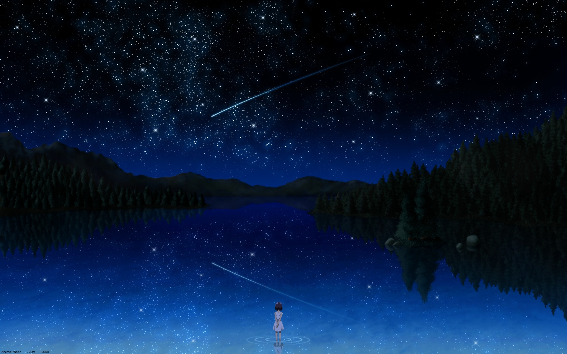 Darker Than Black Night Pai Signed Sky Stars Tree Water T Wallpaper 1920x1200 72363 Wallpaperup