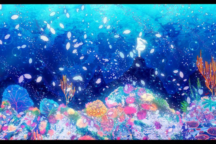 deep-sea girl (vocaloid) hatsune miku petals underwater vocaloid water wallpaper