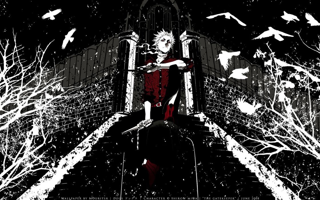 dogs bullets & carnage gun haine rammsteiner miwa shirow polychromatic red weapon wallpaper