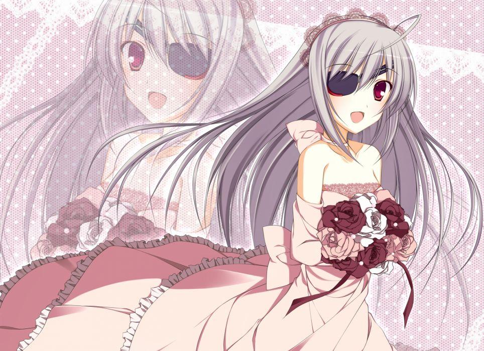 dress eyepatch flowers gray hair infinite stratos laura bodewig nanahosi seiiki red eyes wedding dress zoom layer wallpaper
