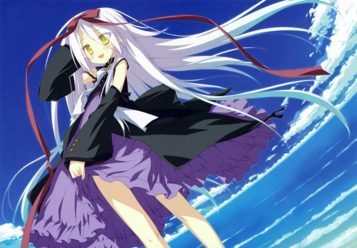 dress hoshizora no memoria long hair mare s ephemeral scan shida kazuhiro sky white hair yellow eyes wallpaper