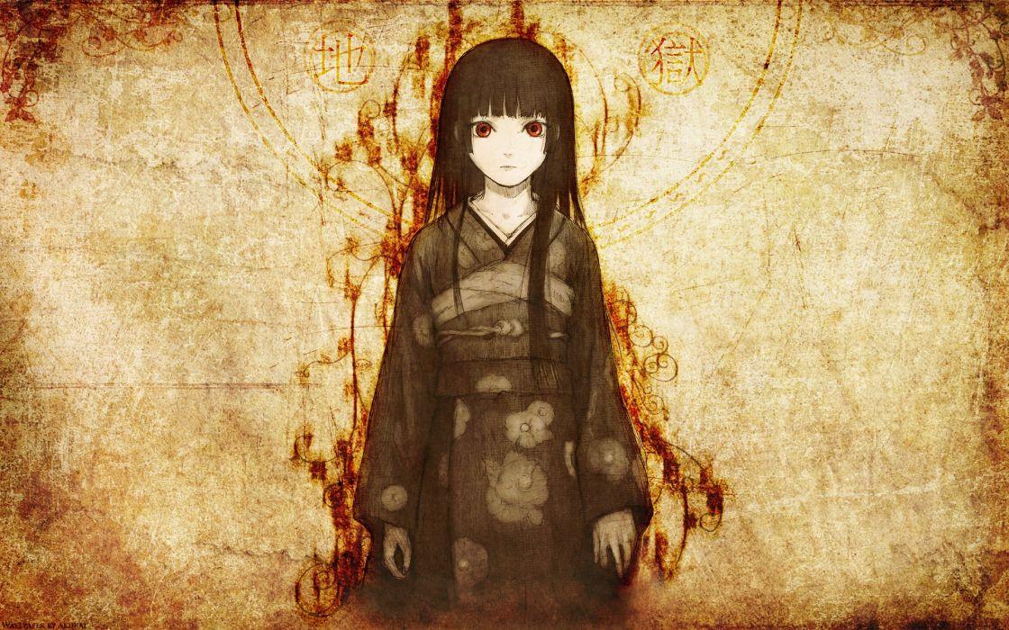 enma ai japanese clothes jigoku shoujo red eyes wallpaper