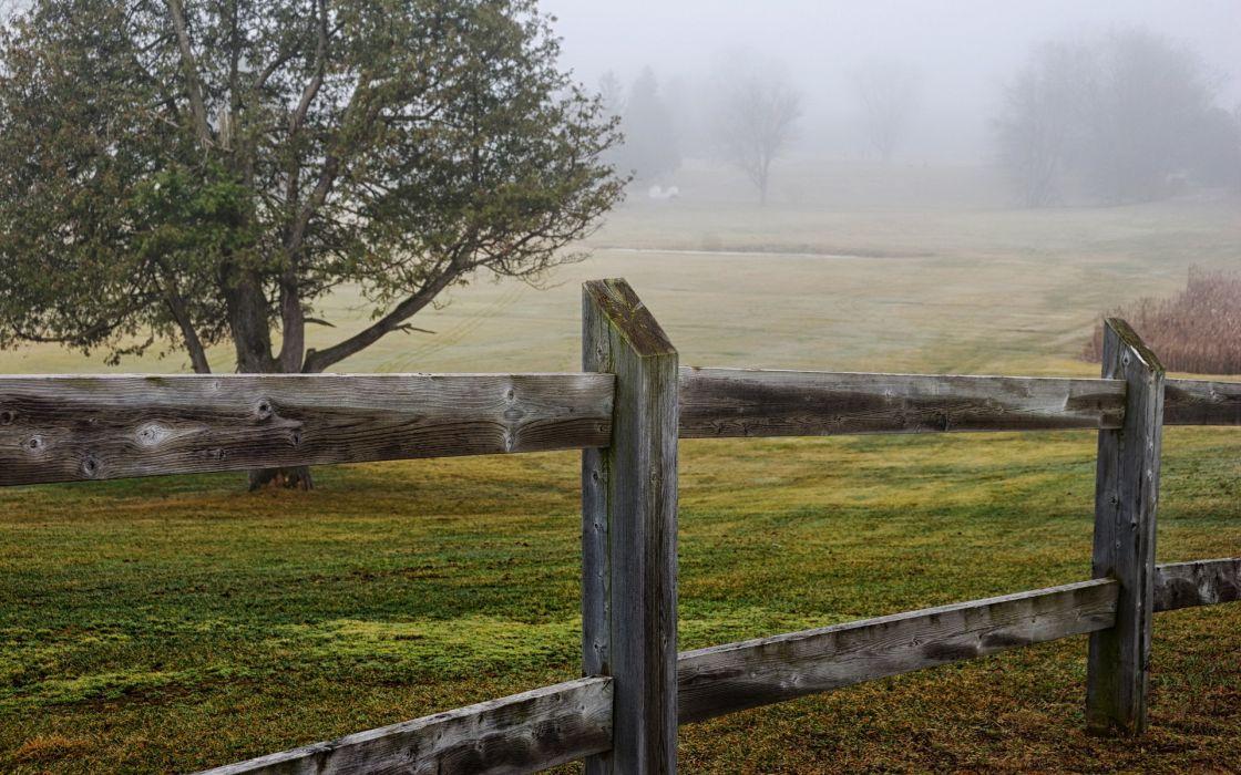 fence  field  landscapes fog wallpaper