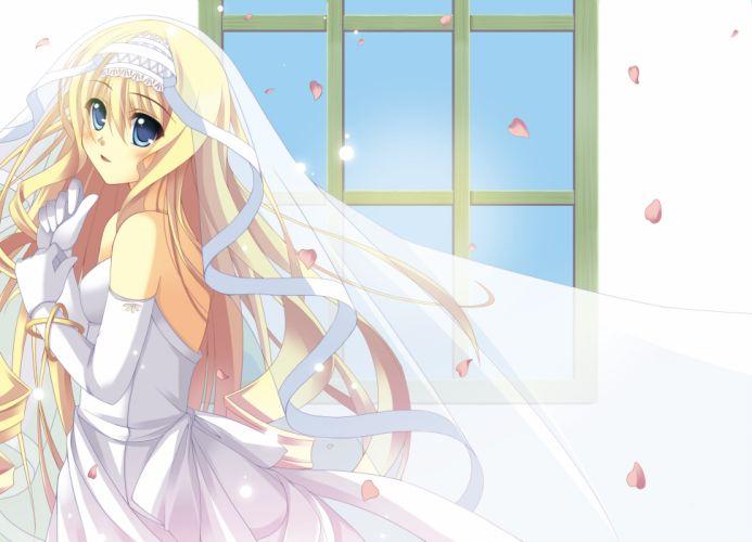 flow blonde hair blue eyes cecilia alcott infinite stratos petals wedding dress wallpaper