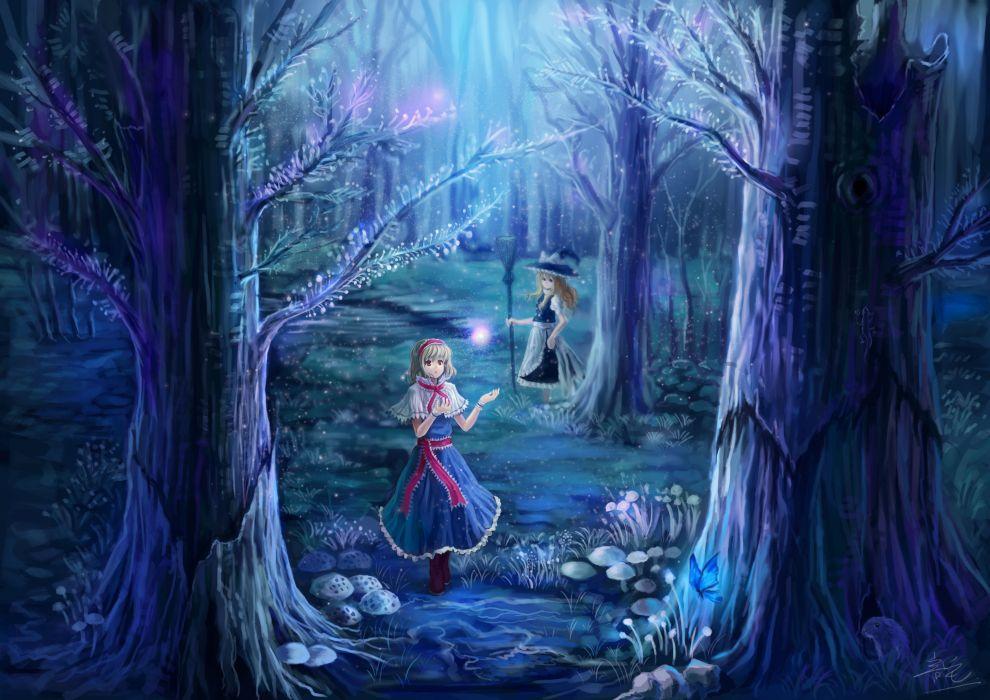 girls alice margatroid blonde hair brown eyes hat headband kirisame marisa oto taku touhou tree witch wallpaper