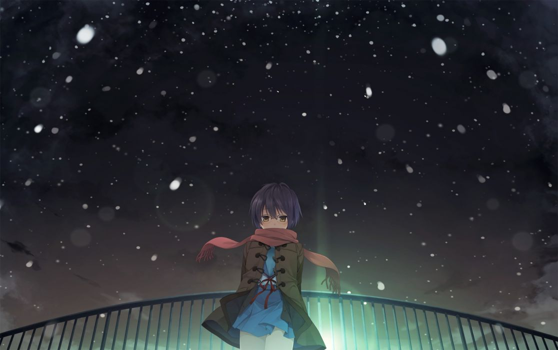 glasses nagato yuki purple hair scarf seifuku short hair snow suzumiya haruhi no yuutsu yellow eyes wallpaper