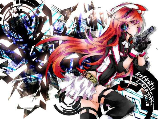 gloves gun headphones miki (vocaloid) red hair thighhighs tyouya vocaloid weapon wallpaper