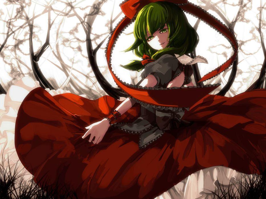 green eyes green hair kagiyama hina long hair memai ribbons touhou tree wallpaper