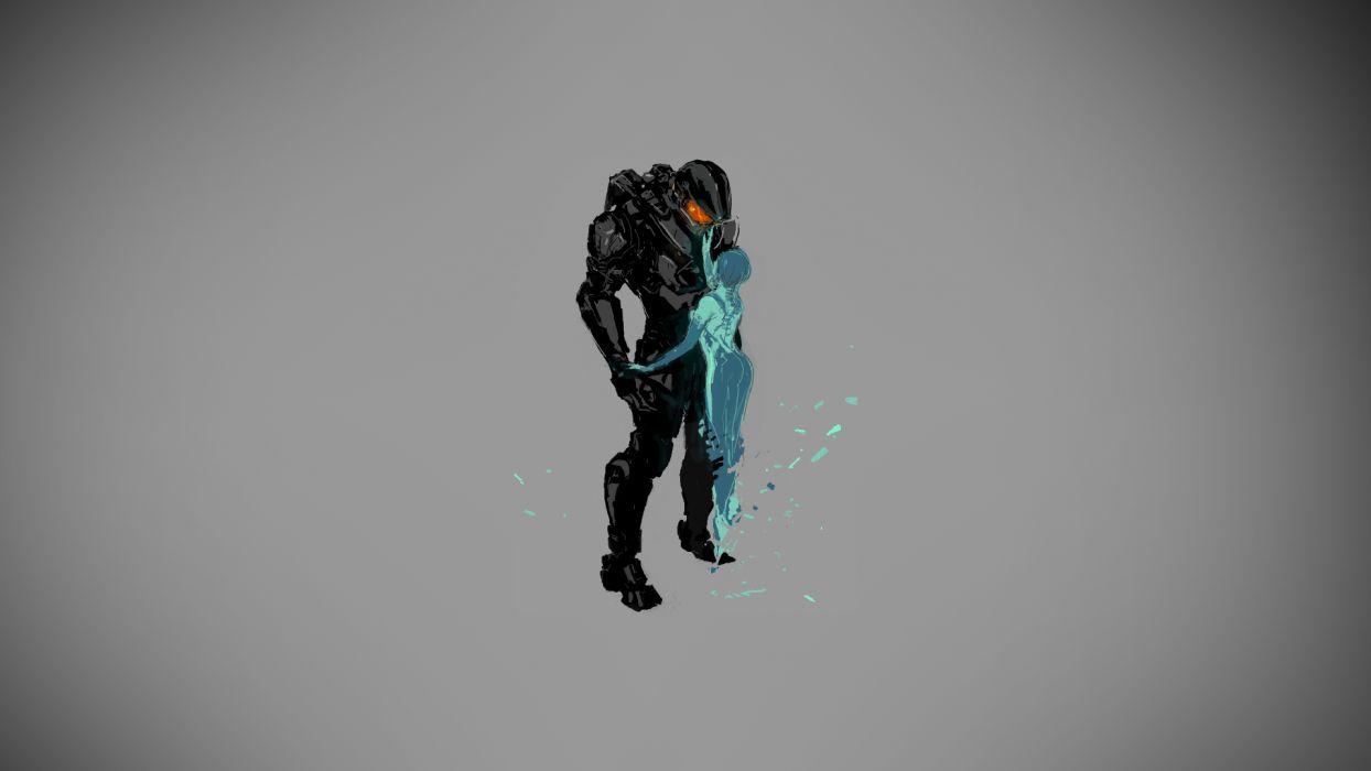Halo Master Chief Cortana warrior sci-fi wallpaper