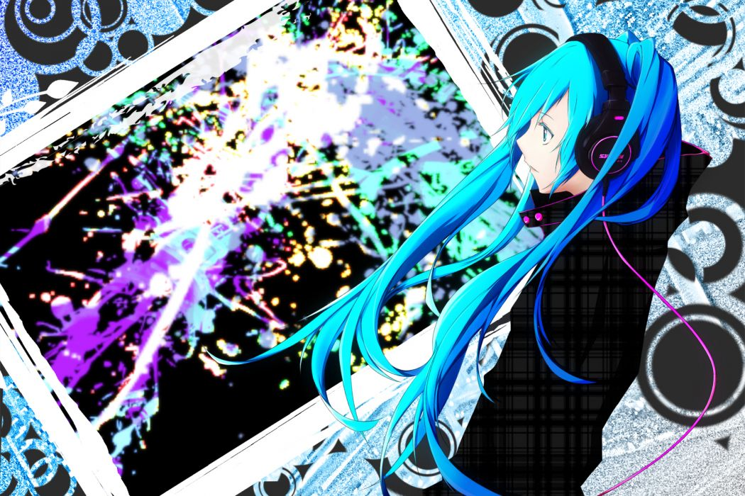 hatsune miku headphones mujun (zipper) vocaloid wallpaper