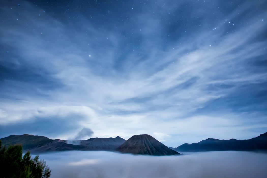 Indonesia Java island sea volcano night sky clouds stars mountains landscapes wallpaper