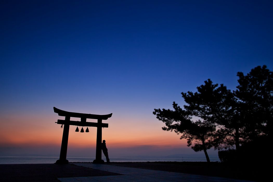 Japan night orange sunset blue sky trees arch architecture people silhouette ocean sea mood gate wallpaper