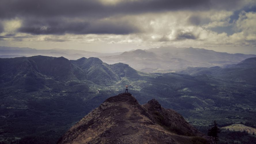 Landscape Mountains Clouds Person sky mood people wallpaper