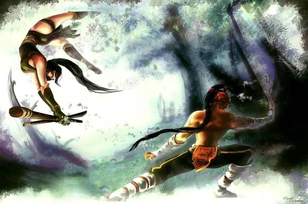 League of Legends Akali Lee Sin fantasy warriors weapons wallpaper