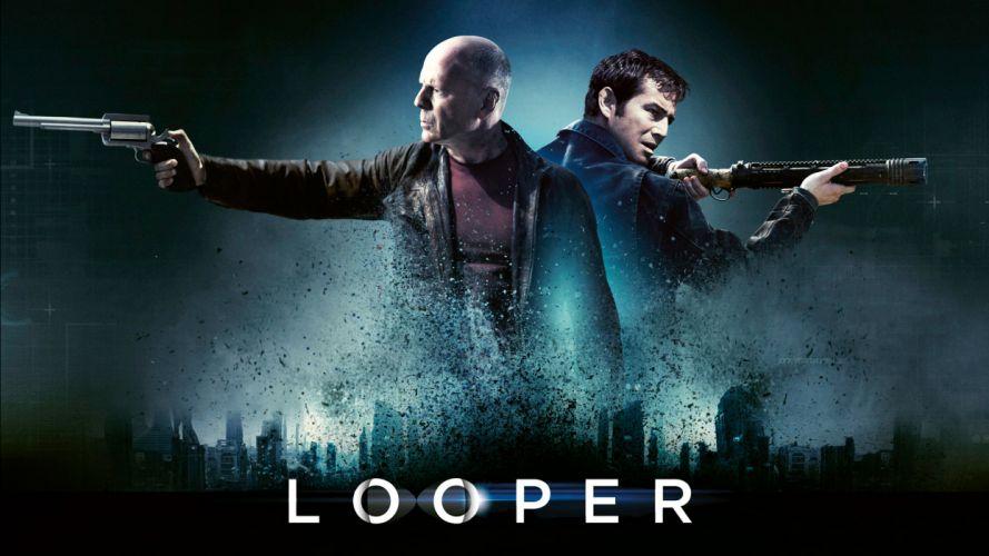 Looper Bruce Willis Joseph Gordon-Levitt Handgun Revolver cities wallpaper