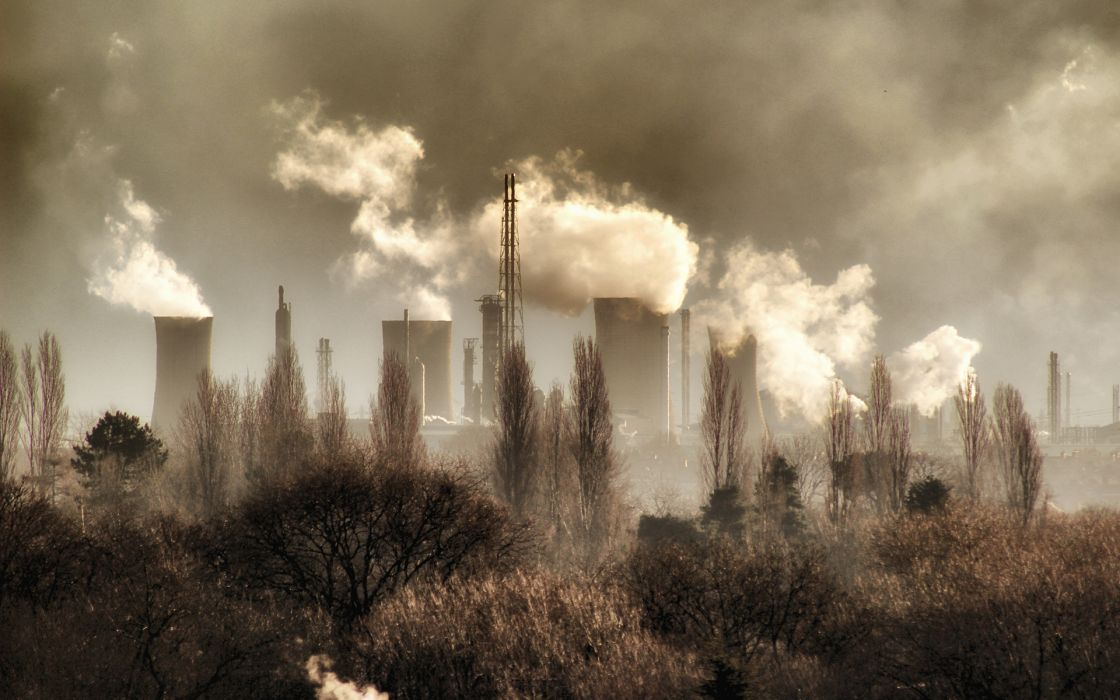 Nuclear Power Plant Power Plant Nuclear Smoke buildings clouds wallpaper