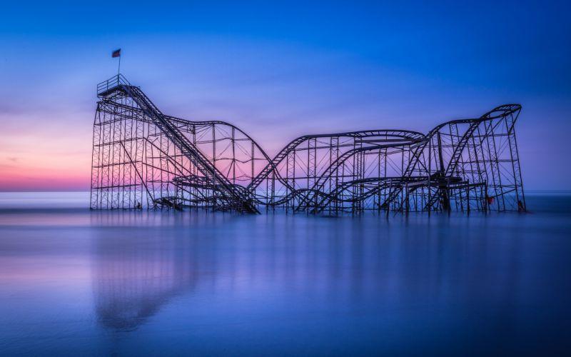 Roller Coaster Ocean Sunset mood wallpaper