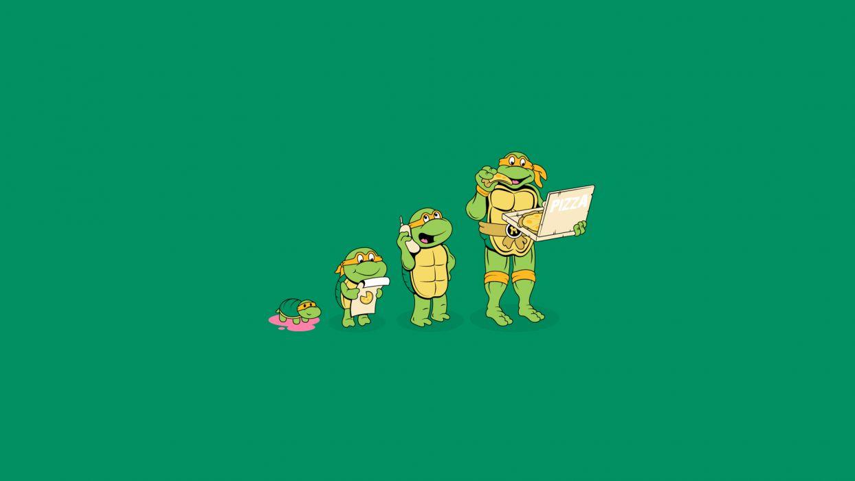 Teenage Mutant Ninja Turtles Michelangelo Pizza Green Turtle humor cartoons comics wallpaper