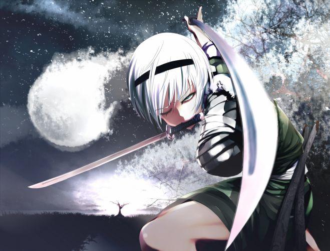 bandage blue eyes gray hair headband katana konpaku youmu short hair sword touhou weapon wallpaper