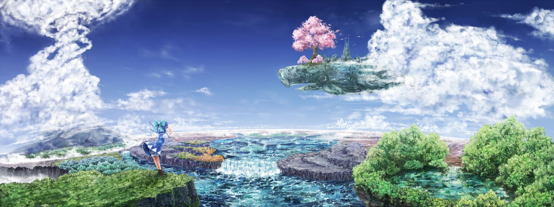 bloomers bow cherry blossoms cirno clouds dress forest landscape petals same scenic sky touhou tree water wallpaper