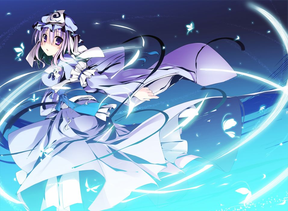 butterfly hat japanese clothes kimono purple eyes purple hair saigyouji yuyuko short hair t-ray touhou wallpaper