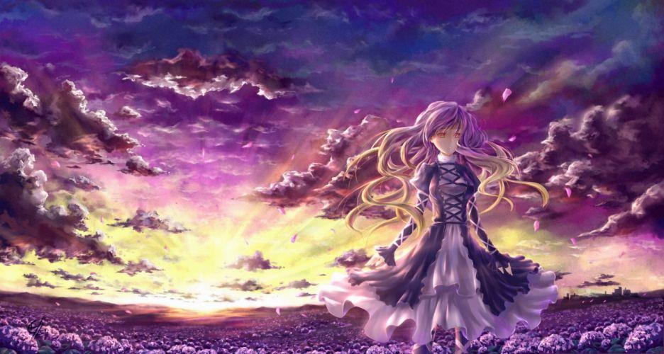 clouds dress flowers hijiri byakuren long hair petals sky touhou yellow eyes wallpaper