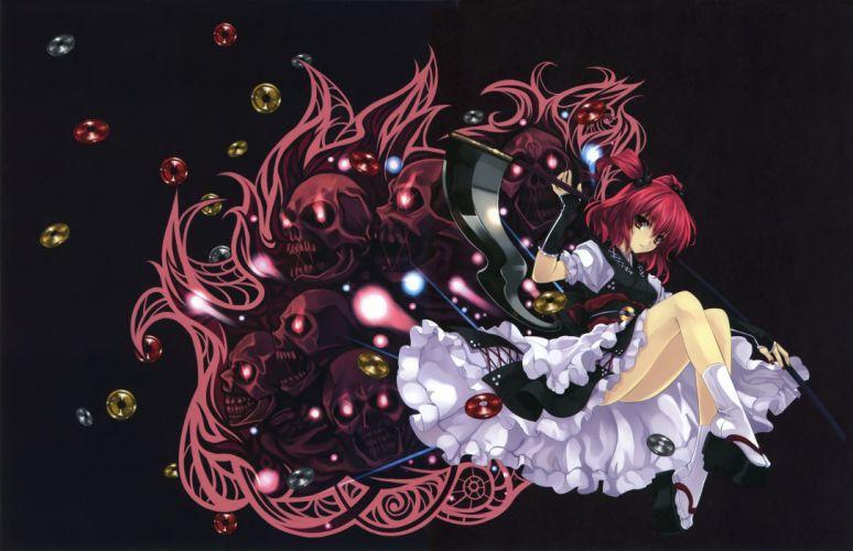 cradle misaki kurehito onozuka komachi red eyes red hair scythe short hair touhou twintails wallpaper