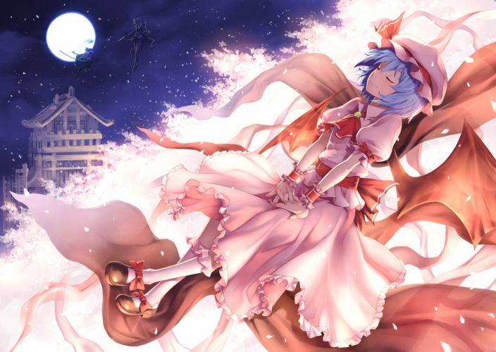 girls blue hair cherry blossoms dress hat izayoi sakuya katana konpaku youmu kunieda maid moon night petals sword touhou vampire weapon wallpaper