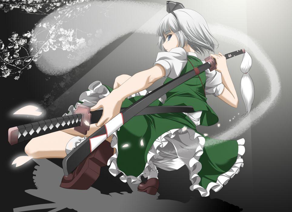 katana konpaku youmu myon sword touhou weapon wallpaper