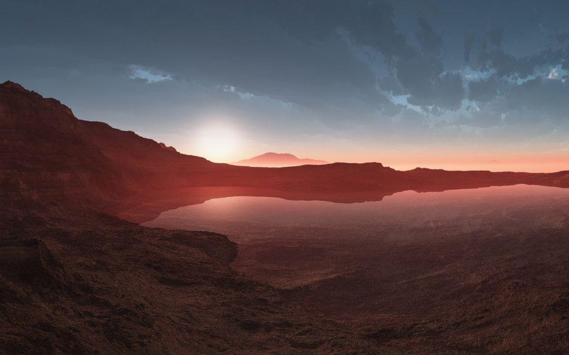 Desert Lake Sunlight Reflection sunet landscapes wallpaper