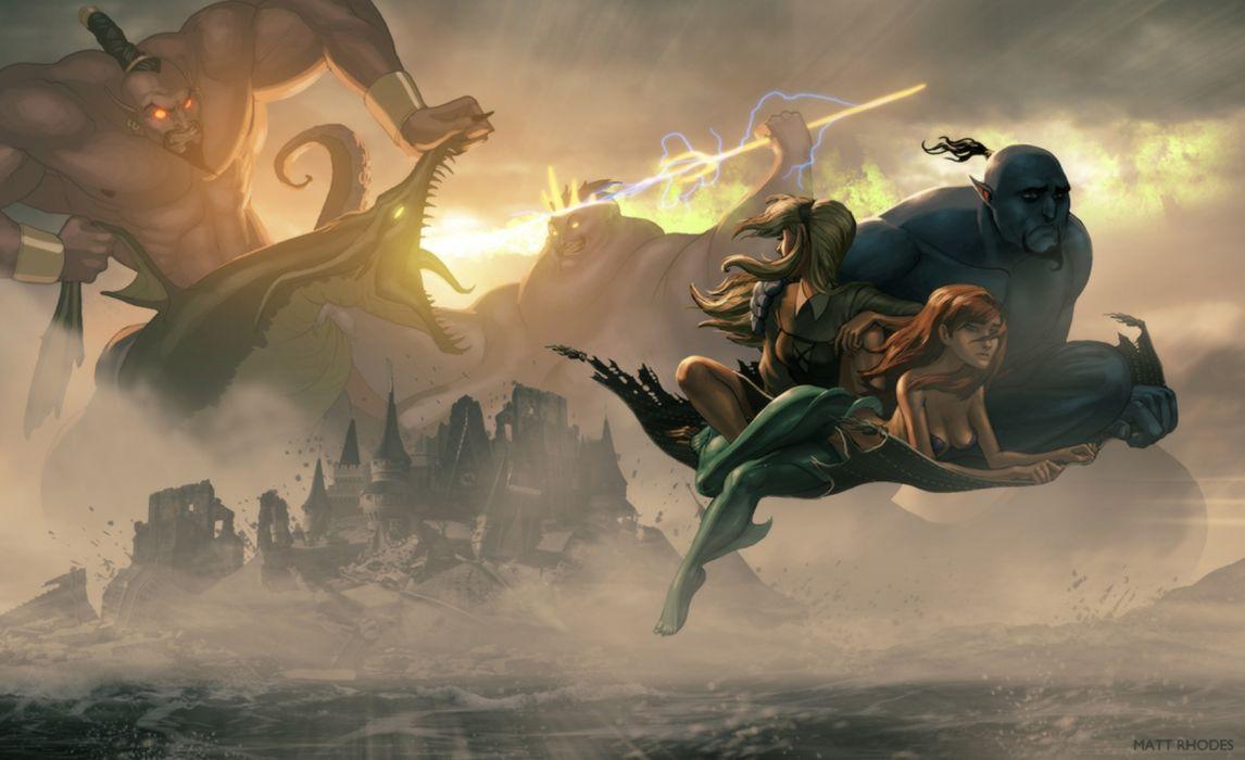 Disney Aladdin Jeanie Fight Flying Carpet The Little Mermaid Ariel fantasy wallpaper