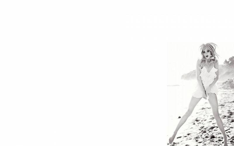 Elsa Hosk Blonde BW White Dress black white wallpaper