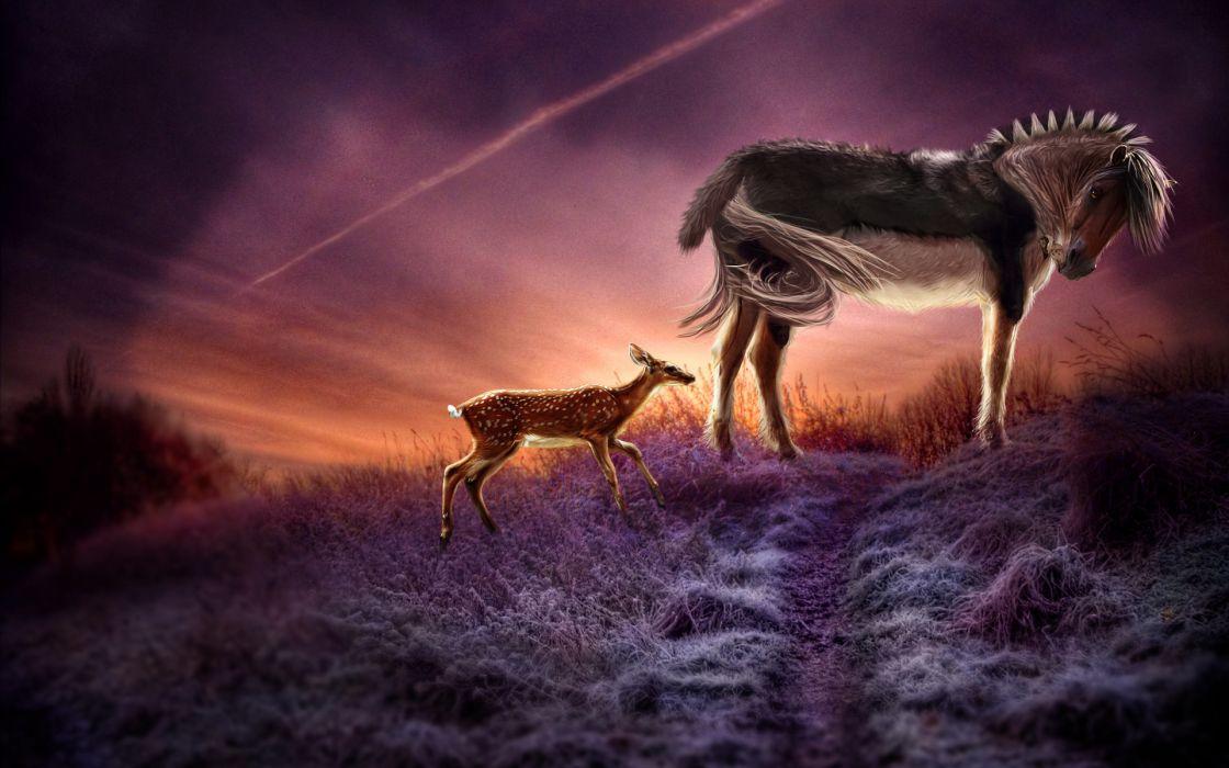 horse deer sunset frost 3d art wallpaper