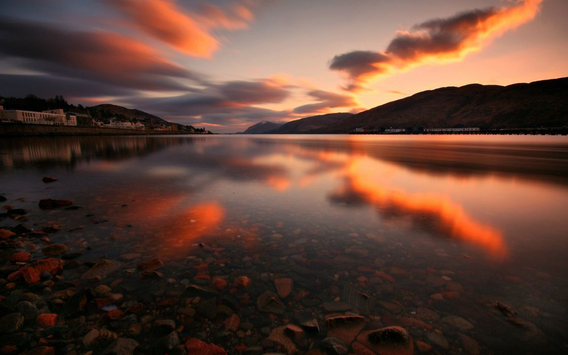 Lake Landscape Reflection Clouds Sunset wallpaper