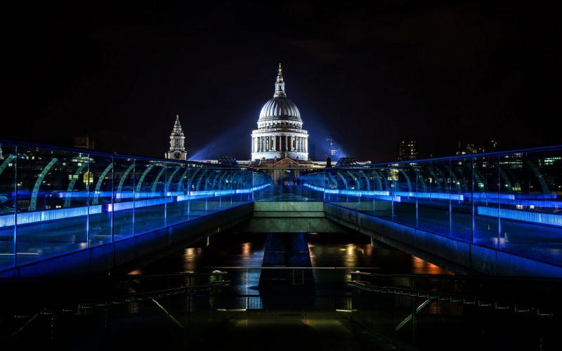 millenium bridge bridge england thames night wallpaper