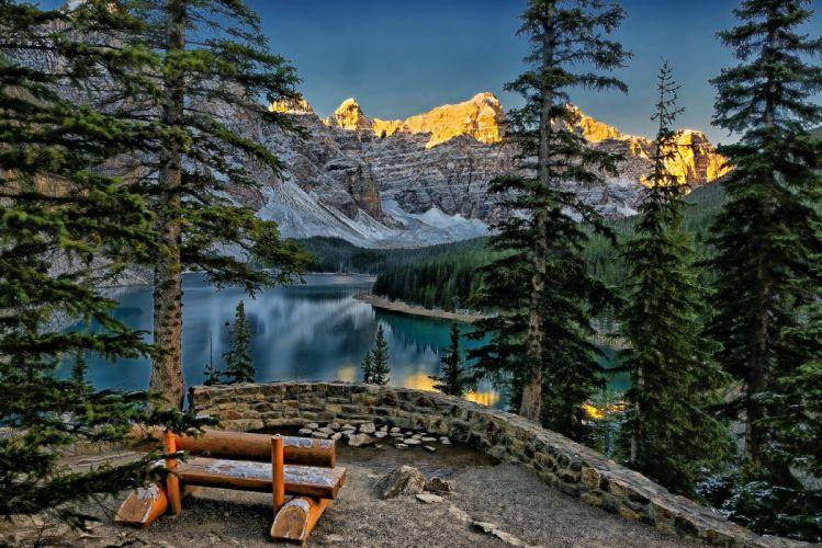 Moraine Lake Valley of ten peaks Banff Canada mountains forest trees landscape alberta alberta bench lake wallpaper