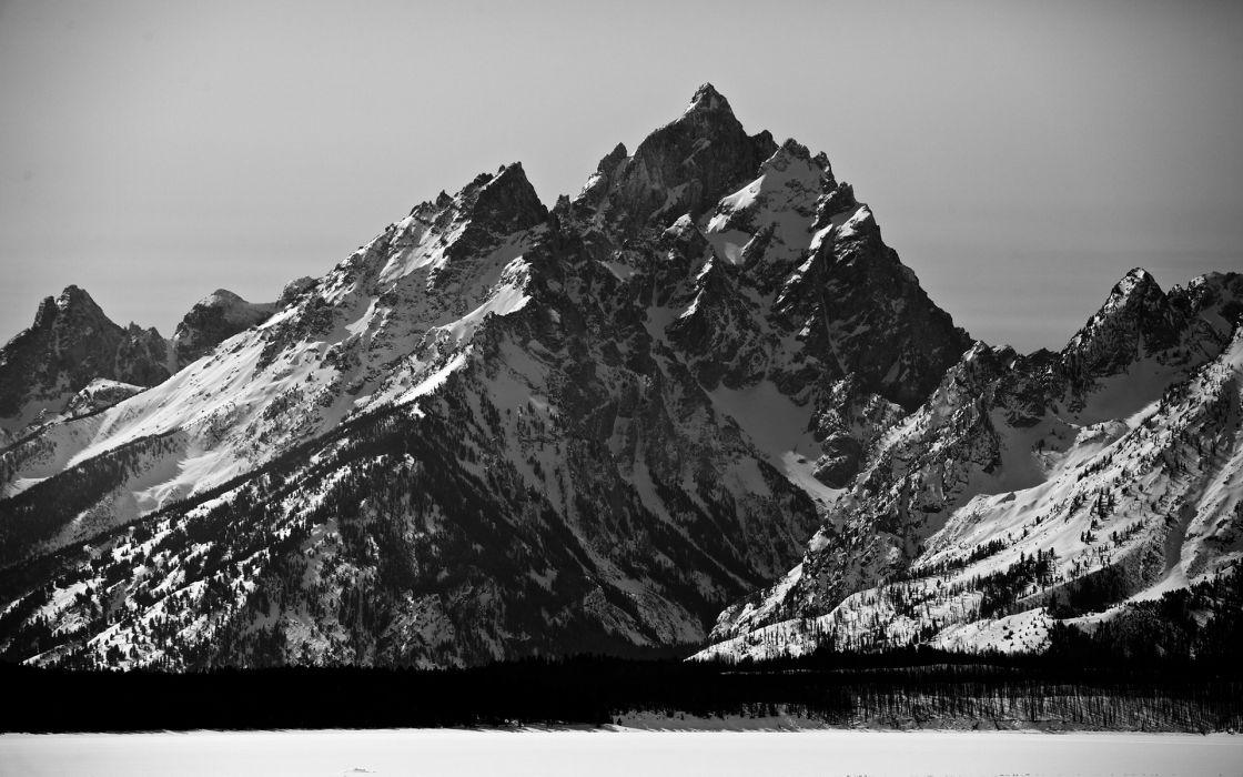Mountains Landscape Bw Black White Wallpaper 1920x1200