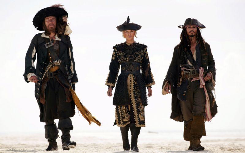 Pirates of the Caribbean Jack Sparrow Pirate Johnny Depp Geoffrey Rush Barbossa Keira Knightley Elizabeth Swann wallpaper