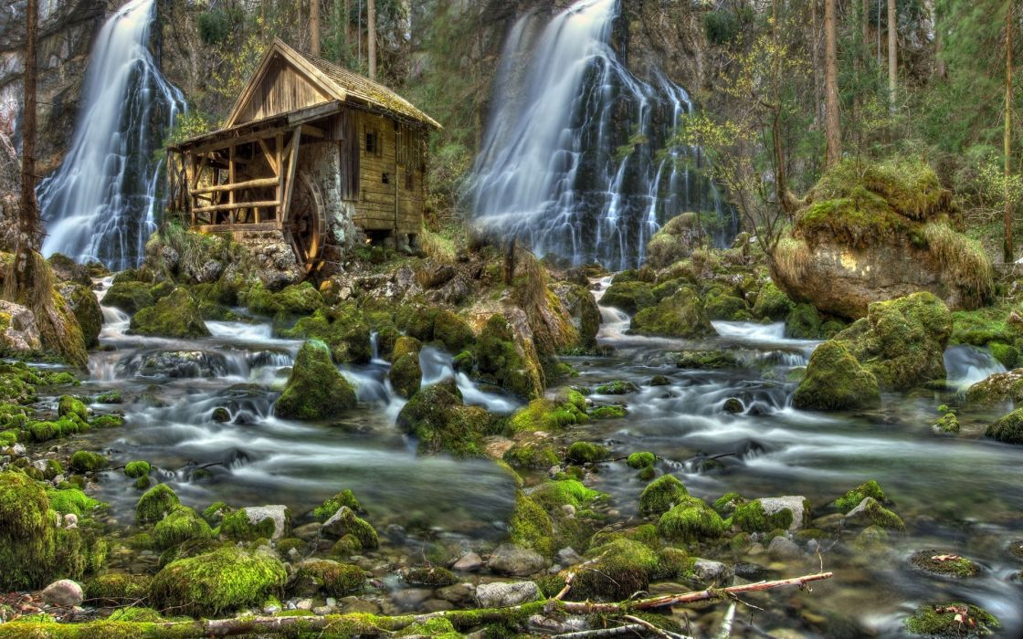 river forest waterfalls a water mill stones moss nature landscape wallpaper