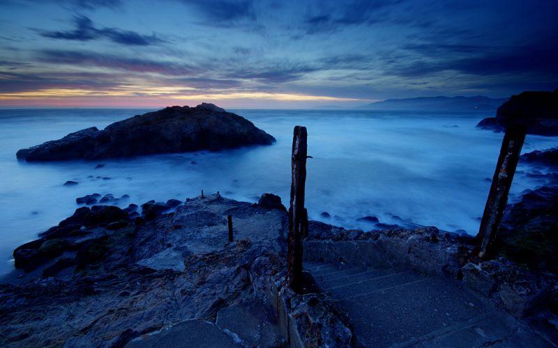 sea island evening_ Beach stairs sunset wallpaper