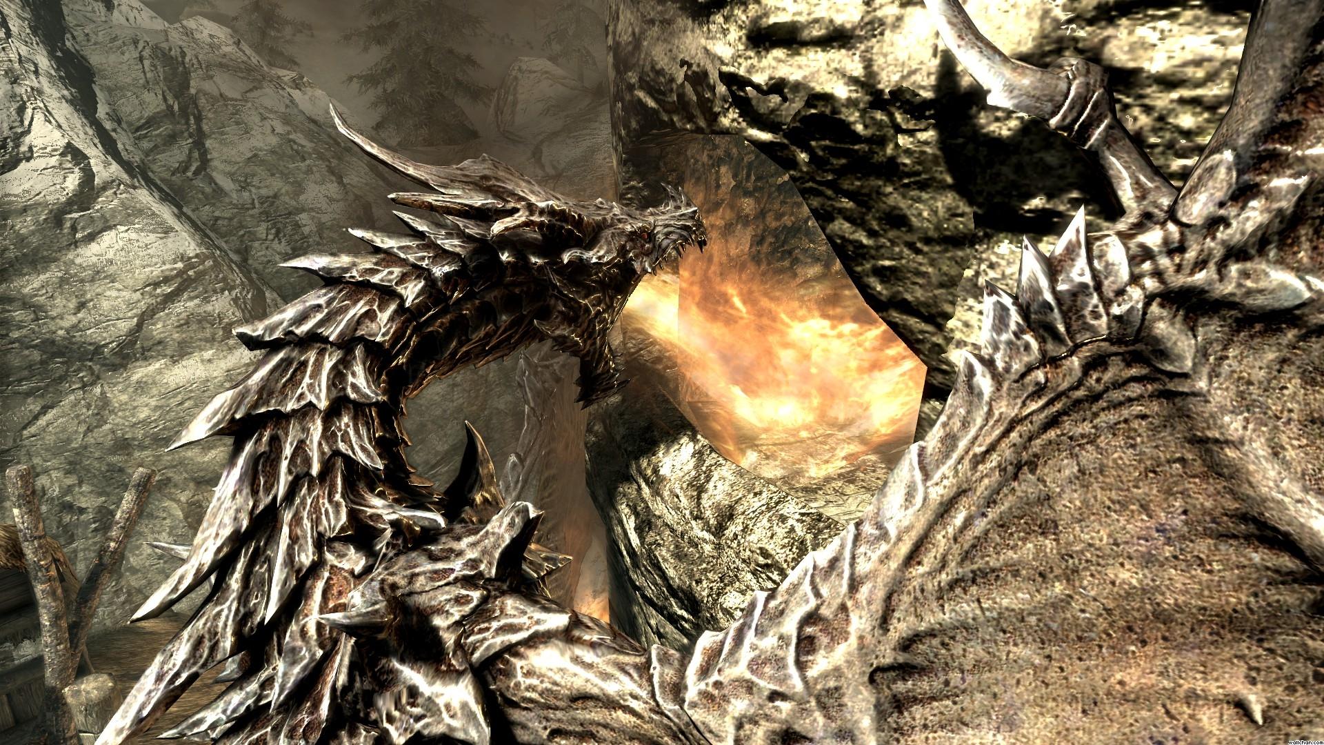 Skyrim Elder Scrolls Dragon Fire fantasy wallpaper ...