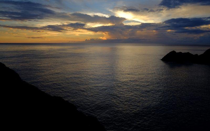 Sunset Ocean Clouds sky wallpaper