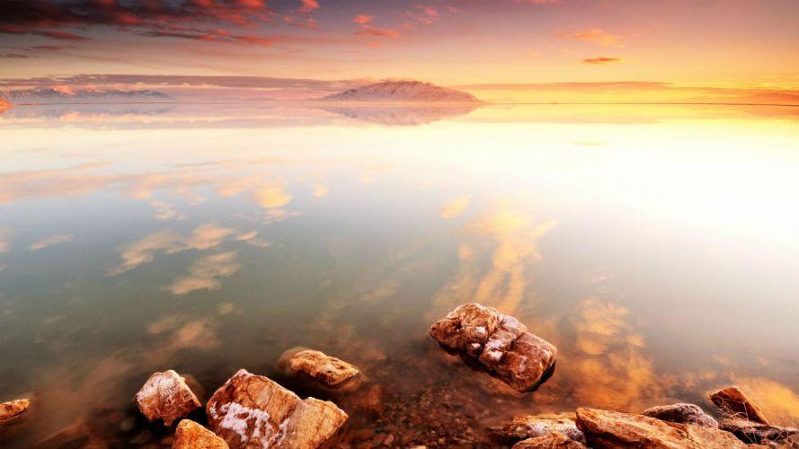 Sunset Ocean Shore Reflection Stones Rocks beaches wallpaper