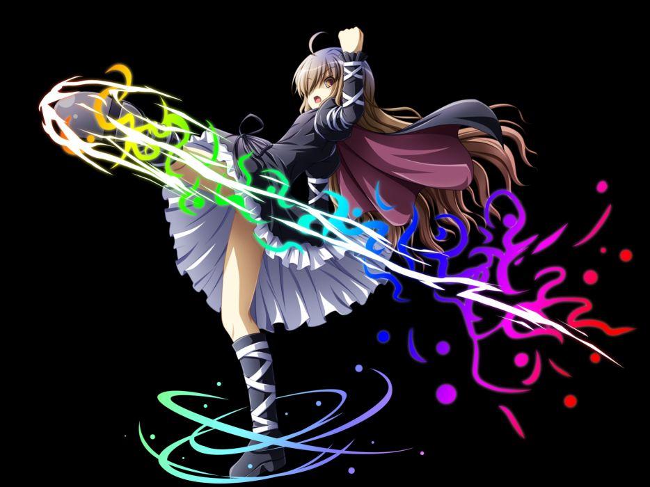 akashio black boots brown eyes brown hair cape hijiri byakuren long hair skirt touhou transparent wallpaper