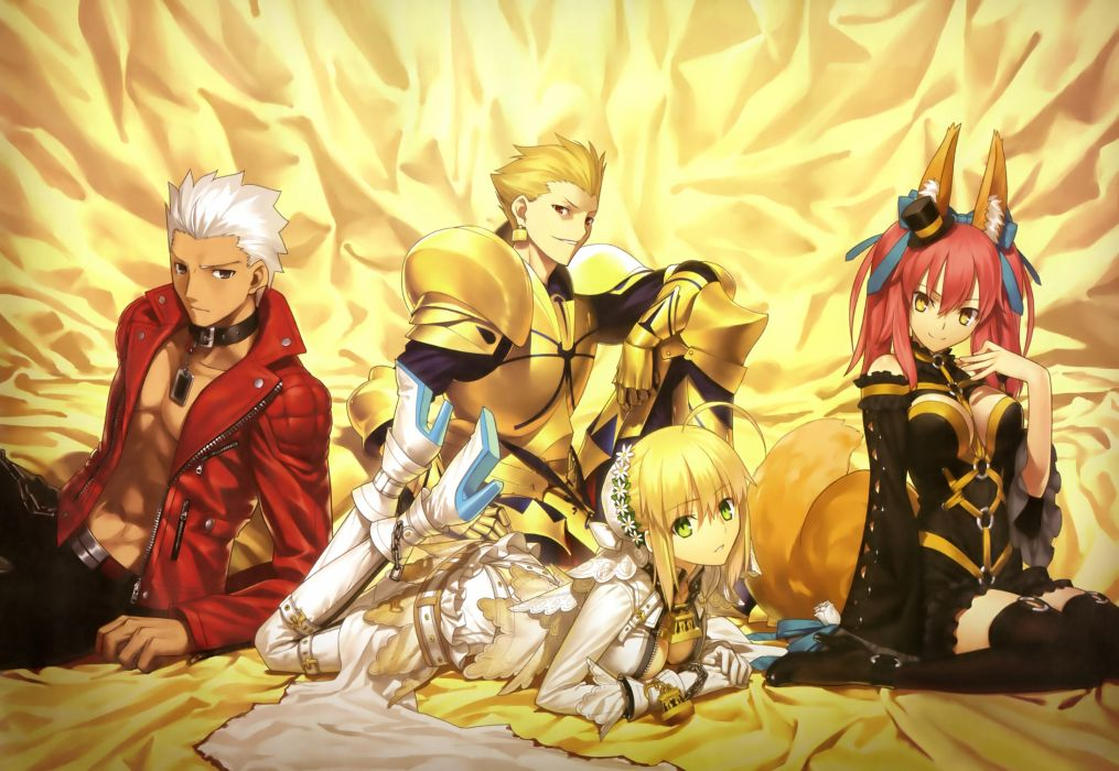 animal ears archer caster (fate extra) cleavage fate extra fate stay night gilgamesh saber bride saber extra scan tail takeuchi takashi thighhighs wallpaper
