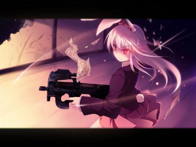 animal ears bunny ears bunnygirl gun hinoeya kiuri reisen udongein inaba touhou weapon wallpaper